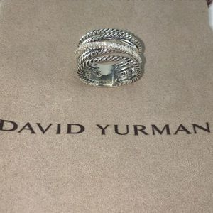 David Yurman Crossover Ring with Diamonds Size 6